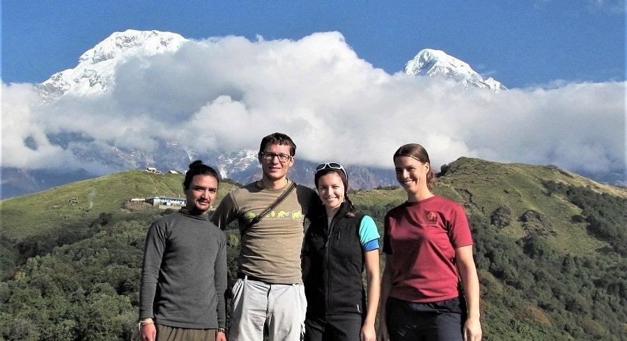 Annapurna south, badal danda in background of trekking team to Mardi Himal trek