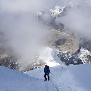 client on his move to climb up in the mardi himal peak climbing