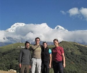 guide and doctors on the pose at mardi himal trekking route
