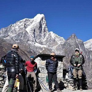 Above Dingboche, happy trekkers in phaplu Everest base camp trekking trip