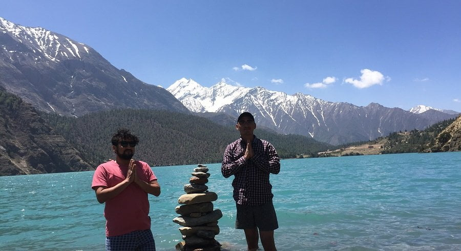 Namaste from the lake of Phoksundo in our lower dolpo trekking trip in Nepal