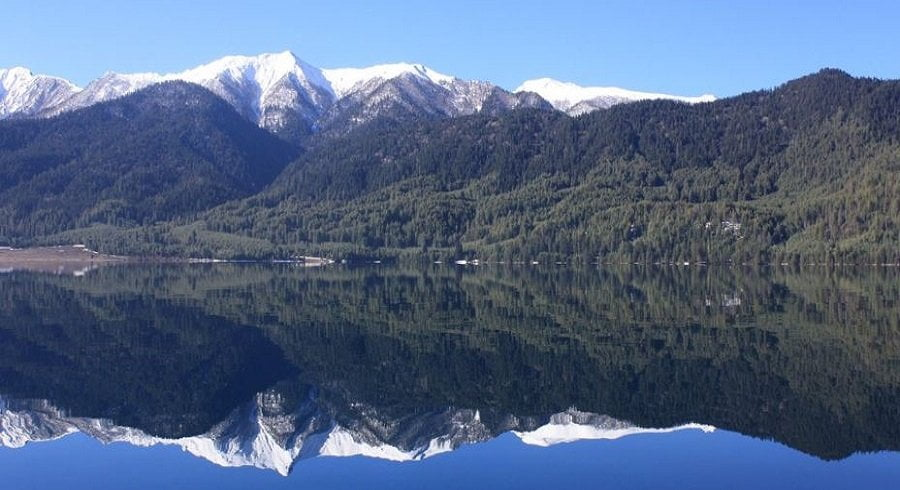 reflection of snow capped mountains on the blue water of Rara lake
