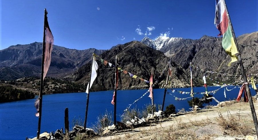 Prayer flags by the Rara lake