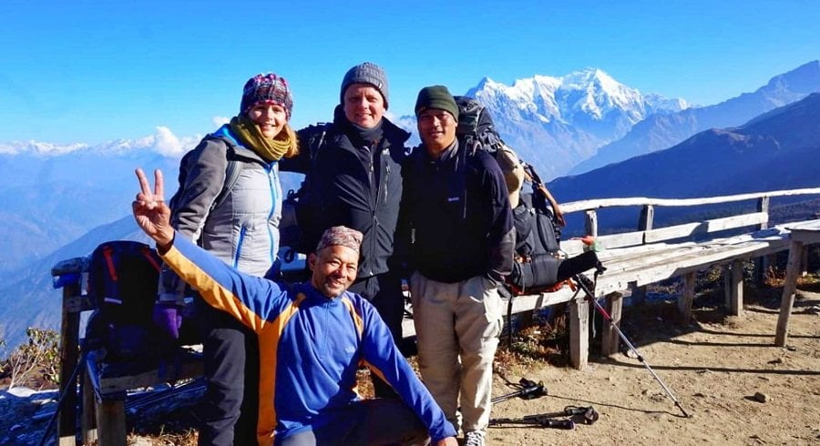 Nepalgram adventure trekking group infront of Mt Langtang Lirung