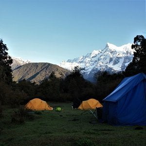 Rolwaling Valley Tasi Lapcha pass Trekking camp along the route
