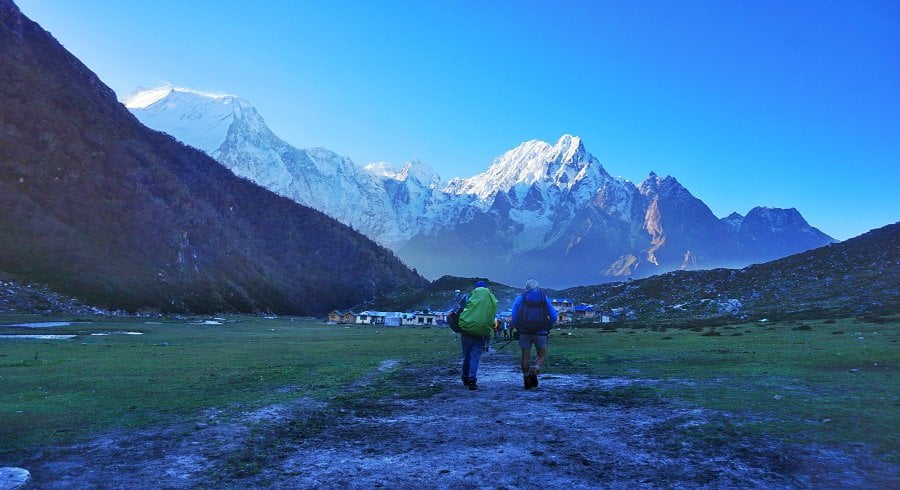 Walking towards the Bhimtang village on our Tsum Valley trek