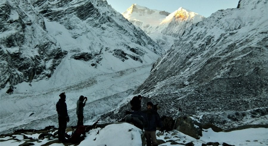 Close to the glacier in our Tsum valley trekking trip in Nepal