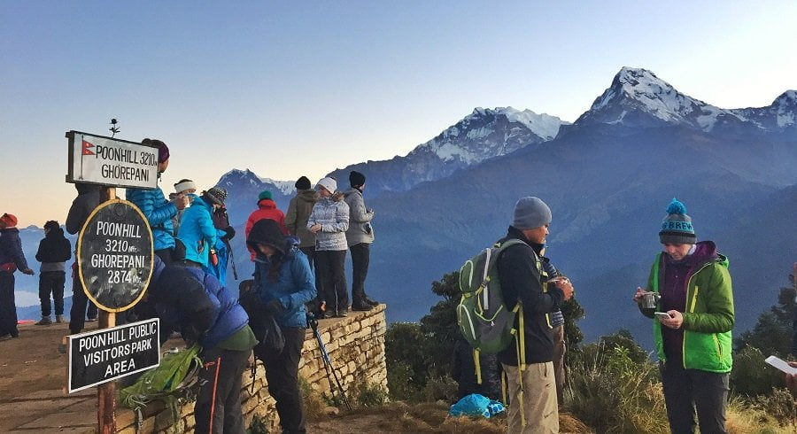Picture of poonhill where people are waiting for the sunrise in their Ghorepani Ghandruk trek