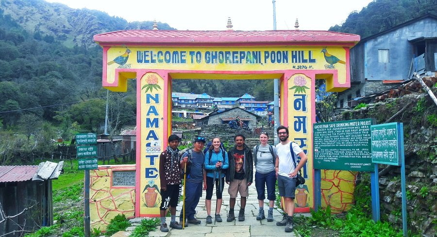Trekking Team at the gate of Ghorepani welcome gate