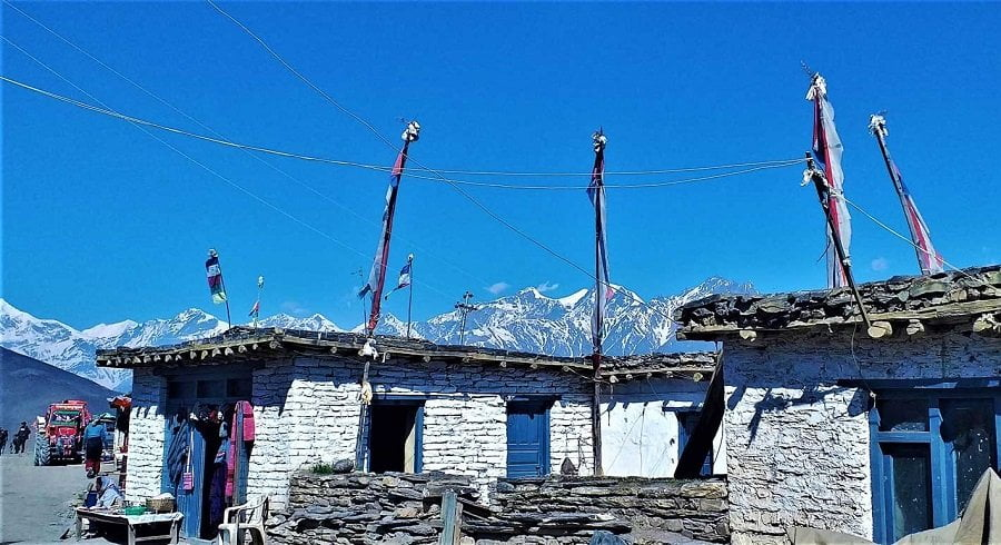 local house of Muktinath village and the mountain range seen from Muktinath