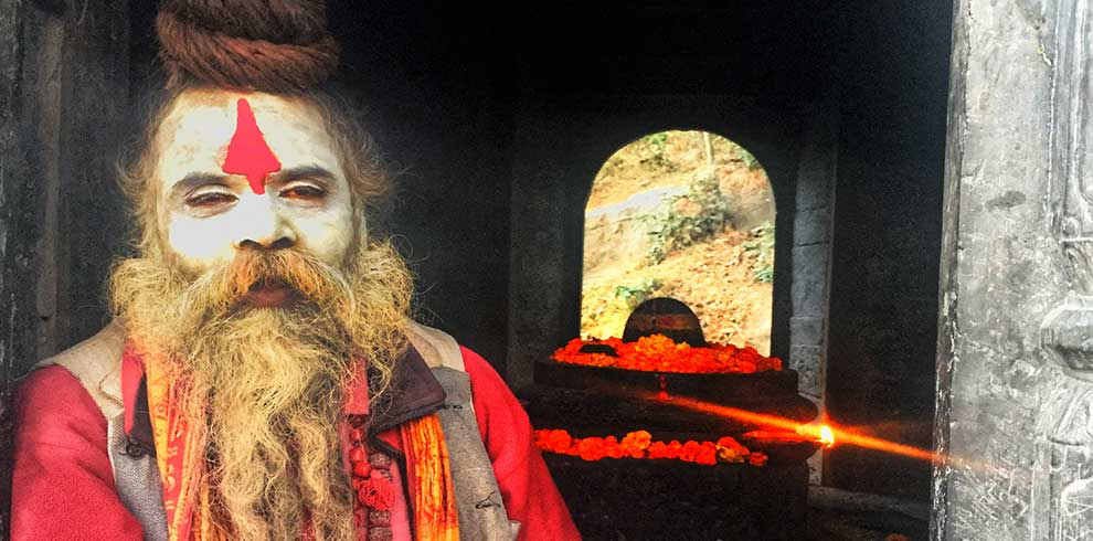 Saint in his full makeup captured in our kathmandu Bhakatapur tour