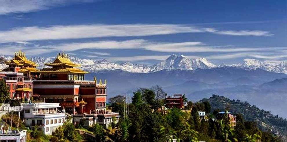 Monastery and the mountain view seen from Bhaktapur