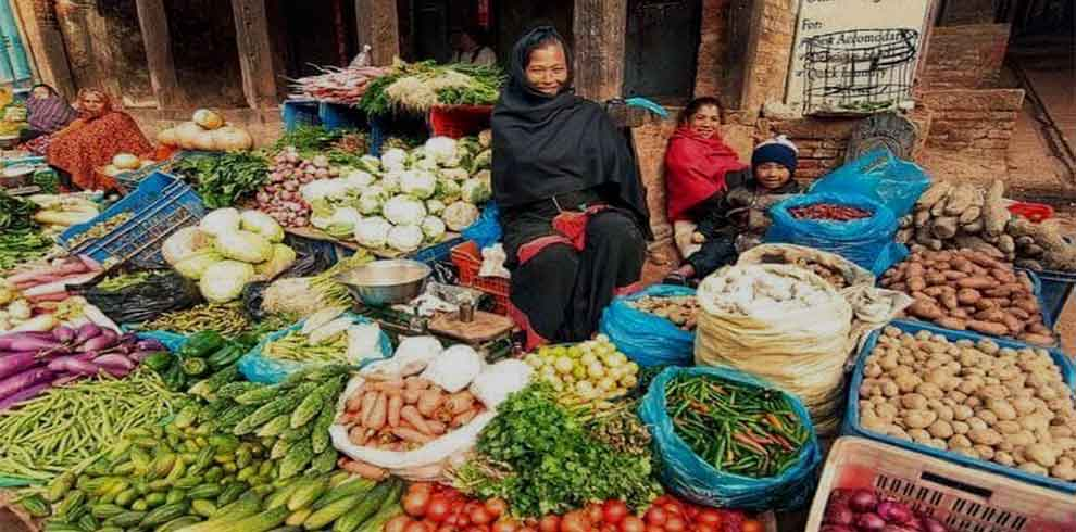 Local vendor at her street shop at Bhaktapur