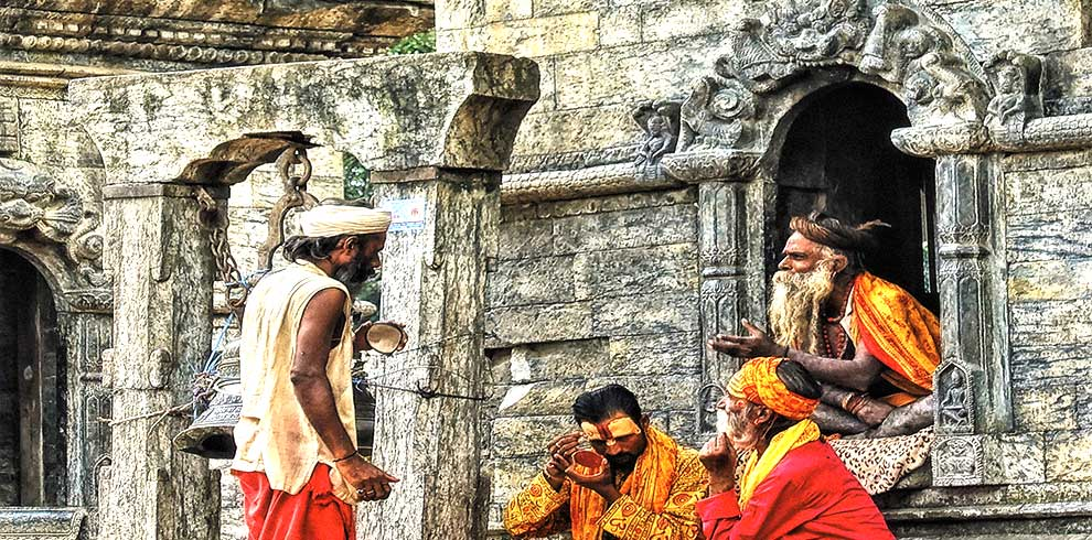 Saints busy in their make up at Pashupatinath temple