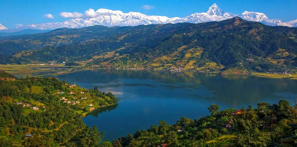 The view of Annapurna himalya range seen from world peace stupa - at pokhara