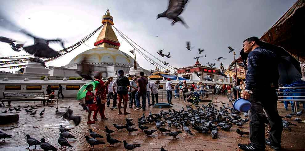 Boudhanath stupa and a man feeding birds at kathmandu