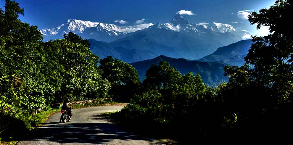 View of Annapurna Himalaya range seen on our way back to pokhara from sarangkot
