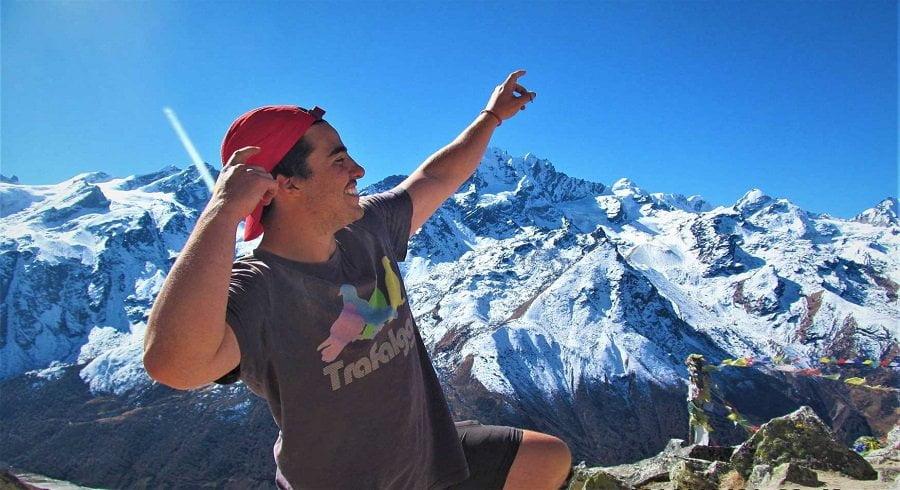 Daniels pose at the top of Kyanjing ri in his langtang valley trek with his girlfriend