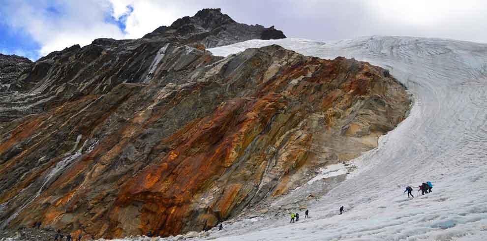 Near the high camp while climbing lobuche peak