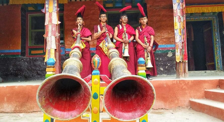 Monks on their performance in the local monastery of Shyala