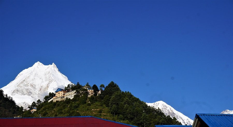 View of Mt Manaslu (one with 2 horns atop) seen from Lho village on our manaslu circuit trekking