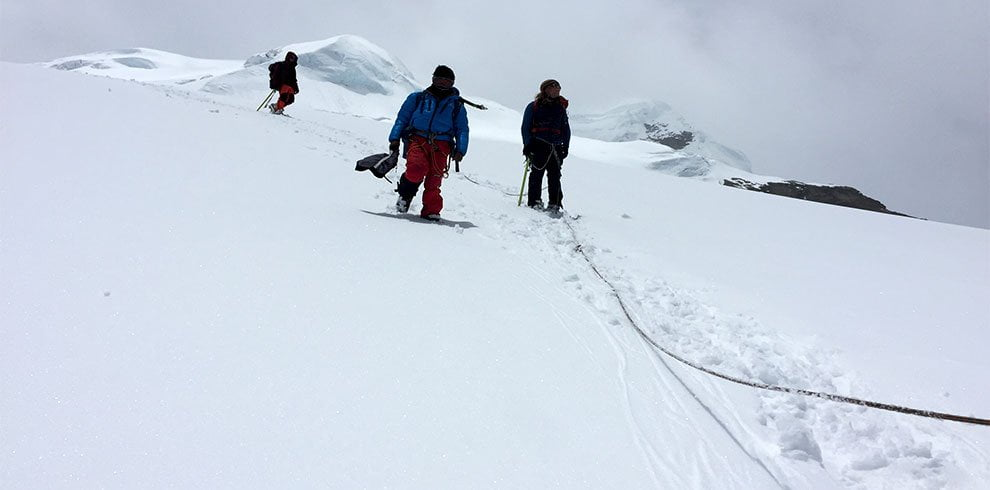 Climbing down to the high camp