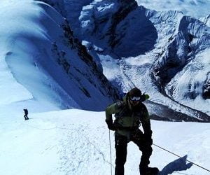 Descending from the summit of Mera peak climbing