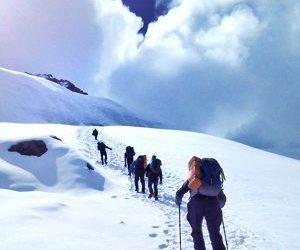 Climbers trekking towards the summit in Tharpuchuli peak climbing