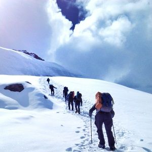 Climbers trekking towards the summit in Tharpuchuli peak climbing