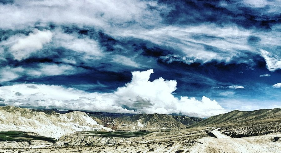 Clouds sen on the rain shadow zone of upper mustang