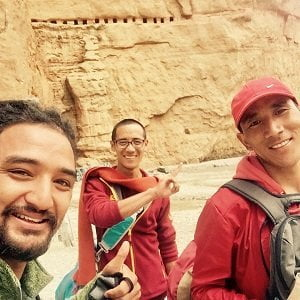 Monks and trekker infront of Mustang gate in Upper Mustang trekking route