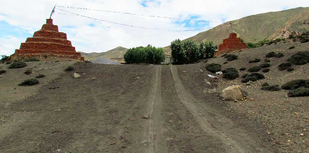 While driving along the forbidden kingdom of Upper mustang by motorbike