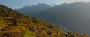 view of the local farm houses and mountains in our jiri Gokyo Everest basecamp trek