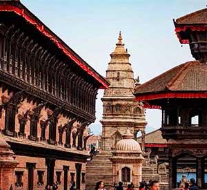 Sikhara style temple and Nepali style temple near Palace architect in Kathmandu