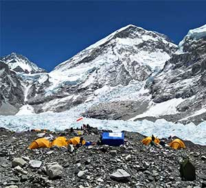 Yellow tents of everest base camp