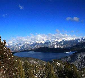 Rara lake view from the nearby village of rara national park