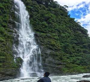 Looking at the less pictured waterfall of Manalsu a restricted trekking destination in Nepal