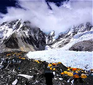 Tents of Everest base camp in Sagarmatha national park