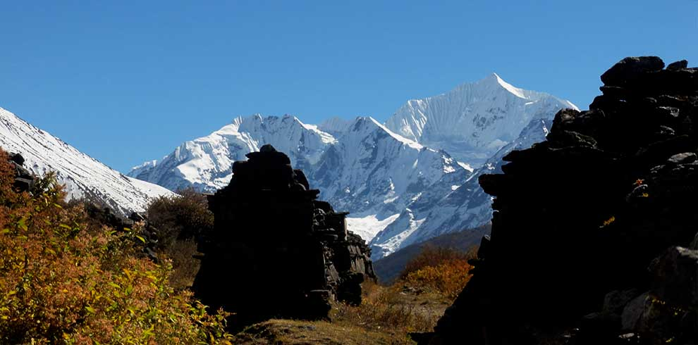 Mountain view of langtang valley helicopter return trek seen from mundhum