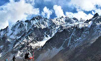 helicopter infront of Mt Dorje lakpa captured during langtang helicopter trek
