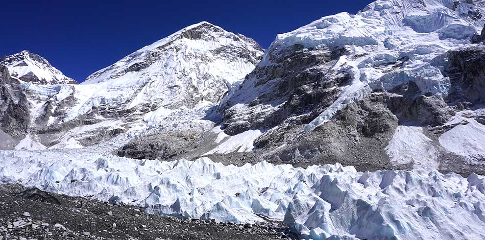 view of khumbu icefall - picture taken from the everest basecamp