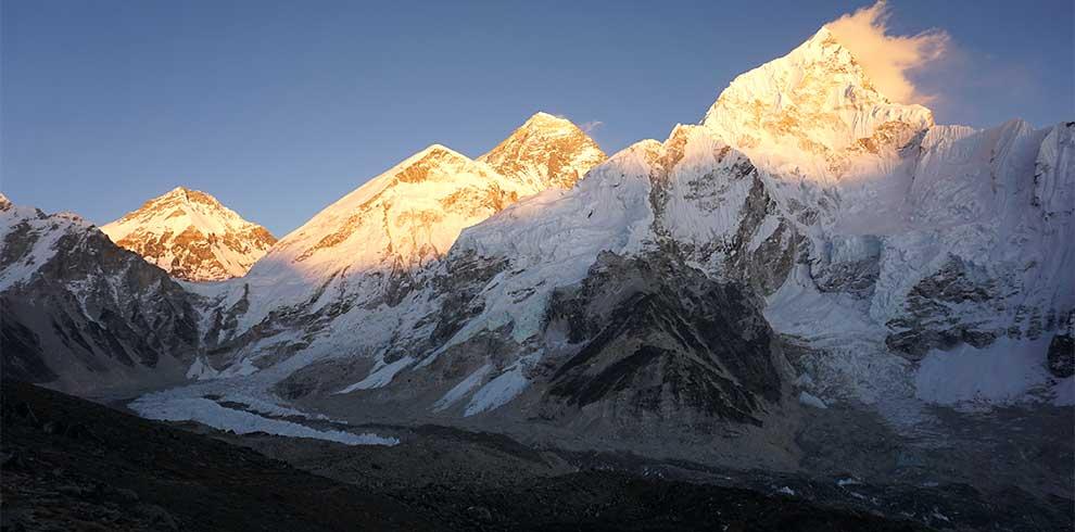 Mt everest seen from kalapatthar during the sunset