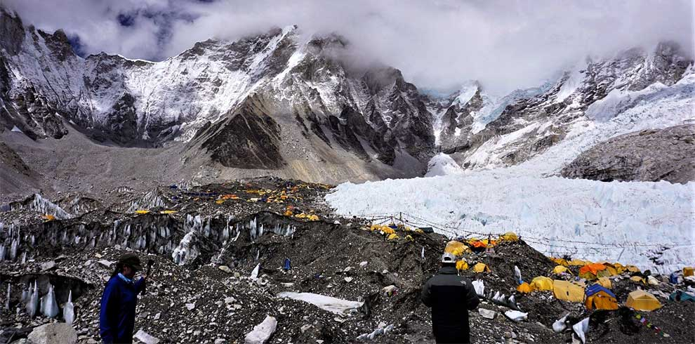 tents at everest basecamp - picture captured in the spring season of everest expedition