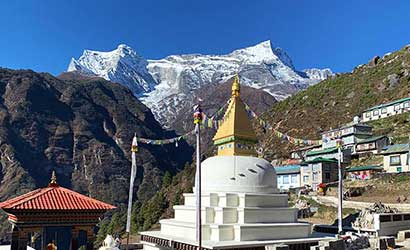 stupa right infront of Namche bazzar seen in our Everest spiritual trek