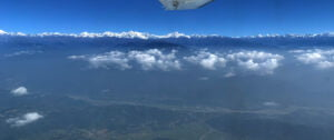View of the mountains seen on the flight from kathmandu to Lukla in everest three passes trek