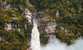 Waterfall in the trekking trail of makalu