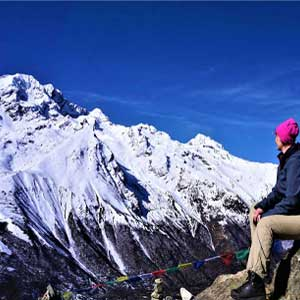 Staring to the mountains on a side trip of Langtang valley hike near kyanjing gompa