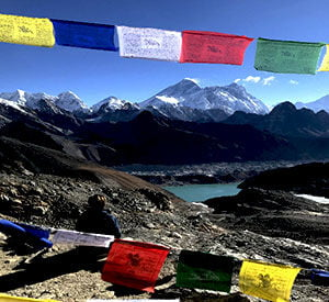 Looking towards Gokyo lake and the view of Mt Everest seen from the top of Renjo La pass