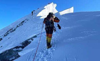 Towards the summit while climbing chulu east peak