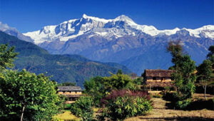 contrast of mountain and village seen in early days of Makalu base camp trek